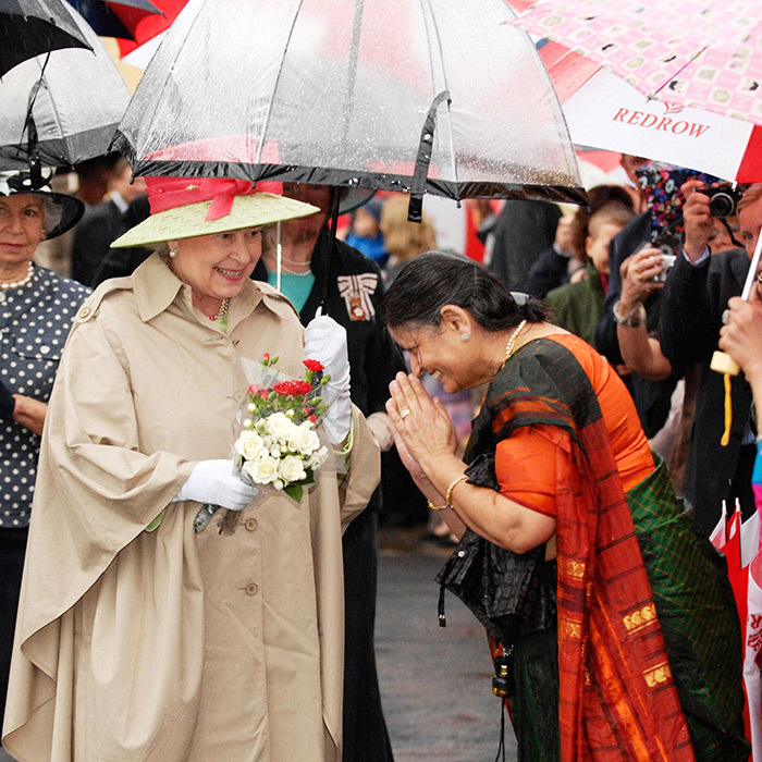 The Queen was sheltered from the rain during a 2007 visit to the reconstructed seafront area of Knightstone Island, England in July 2007.