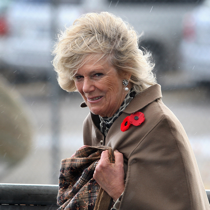 It was a blustery day during Camilla's visit to Hamilton, Ontario in November 2009. The Duchess of Cornwall boarded the HMCS Haida during a rainstorm.