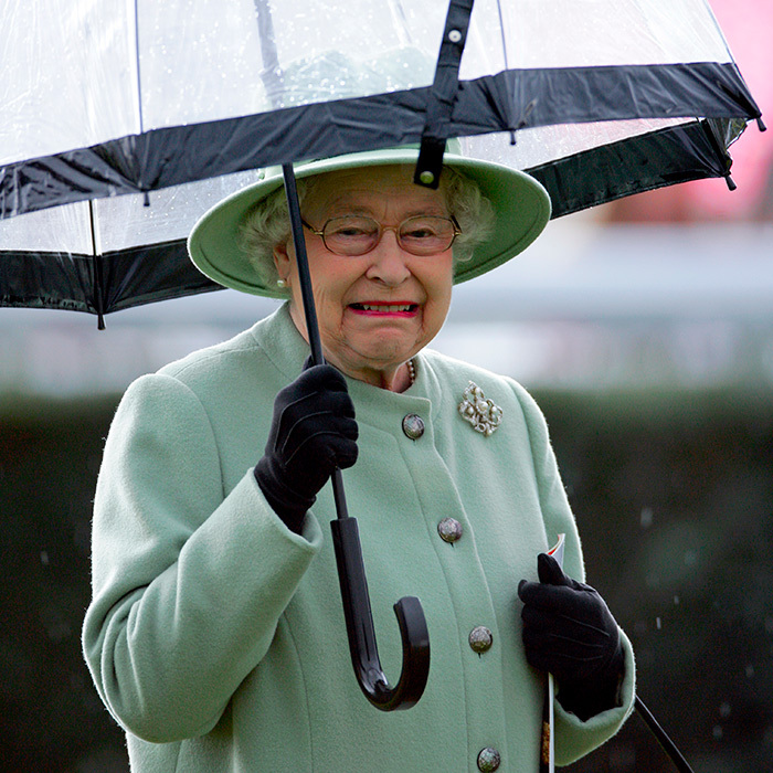The Queen took shelter under an umbrella as she attended the Dubai Duty Free Race Day on her 86th birthday.