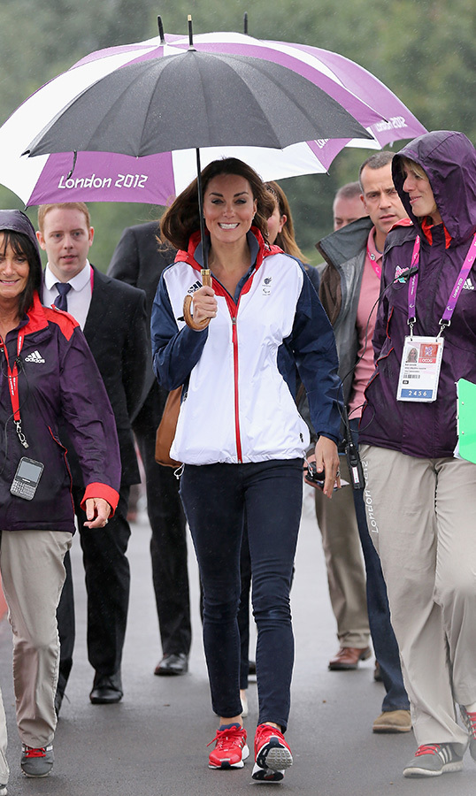 A sporty Kate looked a bit surprised by a change of weather  at the London 2012 Paralympic Games.