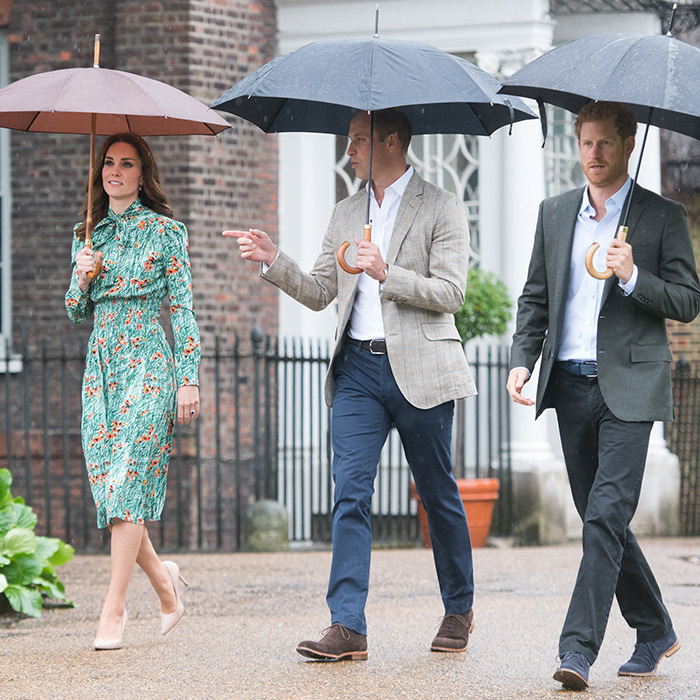 Prince William, the Duchess of Cambridge and Prince Harry visited The Sunken Garden at Kensington Palace in the rain in 2017. The garden was transformed into a White Garden dedicated to memory of Princess Diana.