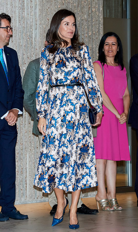 On June 21, Queen Letizia attended the DISCAPNET 2019 awards. She dazzled in a Sandro Paris dress, paired with her Magrit 'Hawa' clutch and coordinating pumps.