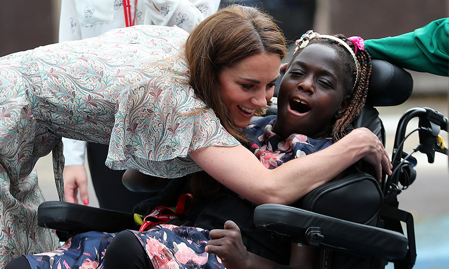 One lucky girl, <strong>Faith Olukoya</strong>, received a royally big hug from the Duchess of Cambridge.