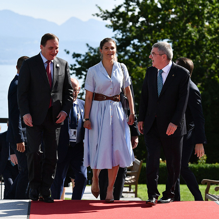 Crown Princess Victoria oozed cool in a blue shirt dress and wide leather belt prior to a bilateral meeting on the Stockholm-Are 2026 candidacy for the Winter Olympics Games.