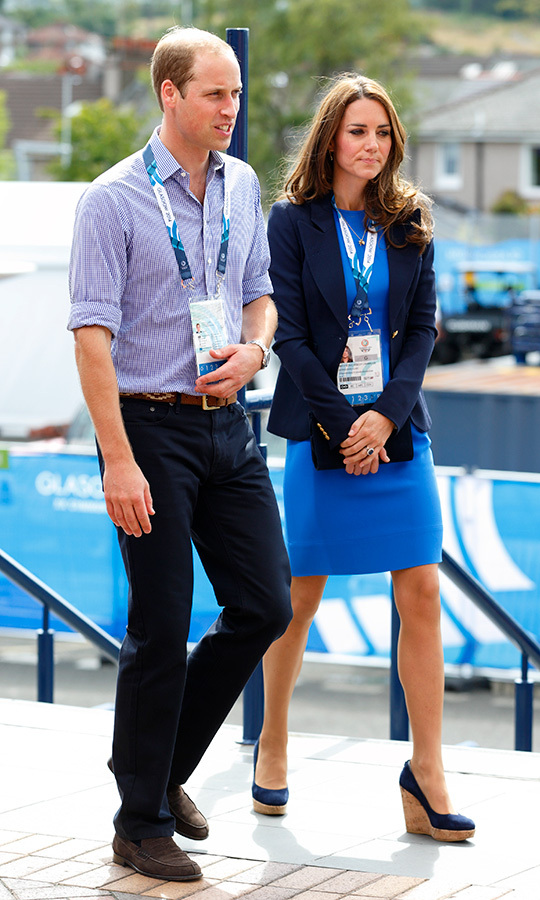 Kate wore the same wedges during a trip to Glasgow for the Commonwealth Games in 2014, which perfectly matched her bright blue dress and navy blazer.