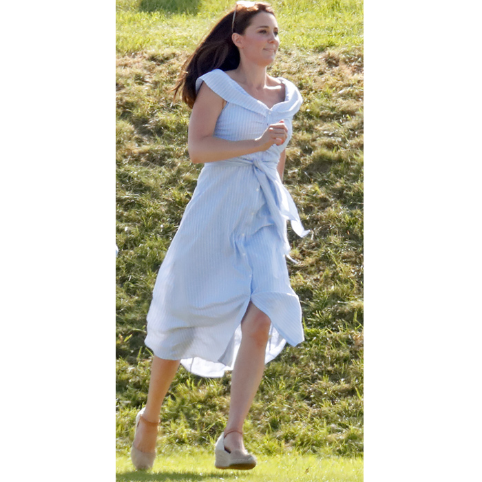 "Kate took a break from maternity leave to take <strong><a href=""/tags/0/prince-george"">Prince George</a></strong> and <strong><a href=""/tags/0/princess-charlotte"">Princess Charlotte</a></strong> to the Maserati Royal Charity Polo Trophy on June 10, 2018. Onlookers were mighty impressed when they spotted the royal <a href=""https://ca.hellomagazine.com/royalty/2018061149369/kate-middleton-running-in-wedges-video/""><strong>gracefully chasing after her kids</strong></a> in a pair of <a href=""https://www.russellandbromley.co.uk/womens/wedaes?N=159343964&Nrpp=12&No=0&Nr=AND(product.active:1,NOT(record.type:Store))"">Russell & Bromley</a> wedges.