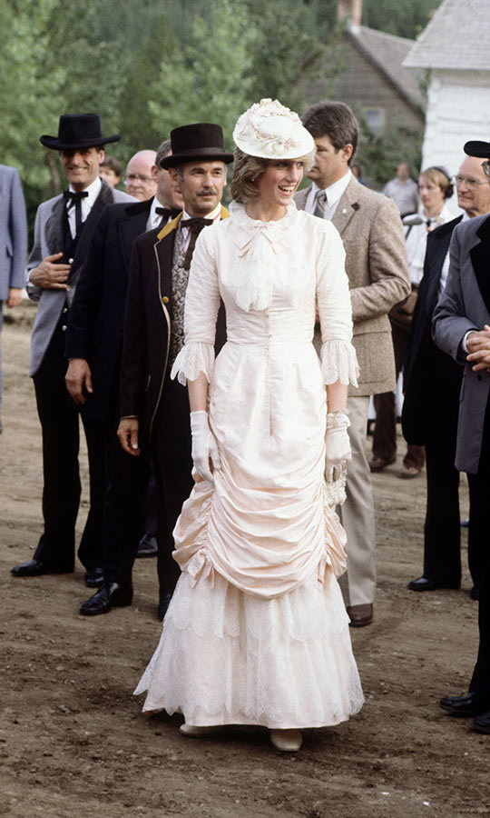 Always fashionable, Diana looked as thrilled as those around her when she came dressed for the part at a Klondike evening barbeque while at Fort Edmonton in July 1983. Her Edwardian fashions made her stand out, even when there were plenty of people dressed for the era among her! 