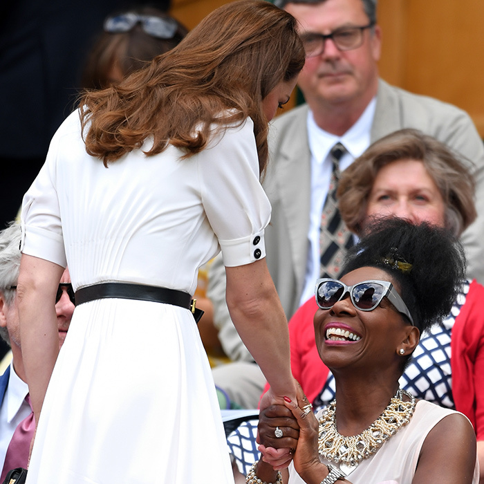 Kate then headed to Centre Court, and all eyes were on the duchess as she arrived to take her seat. She graciously stopped to shake hands with British-Trinidadian actress <strong>Floella Benjaminas</strong>.