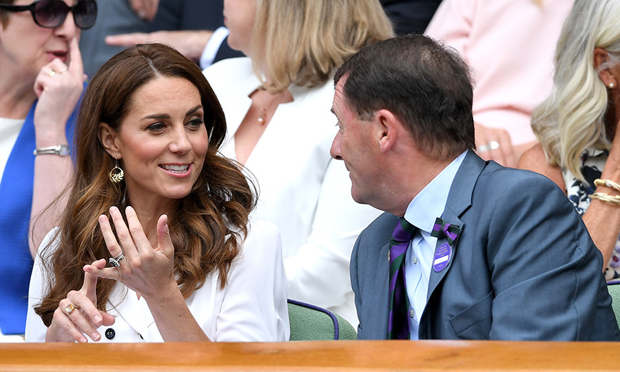 The Duchess of Cambridge spoke with Wimbledon Chairman <strong>Philip Brook</strong>.