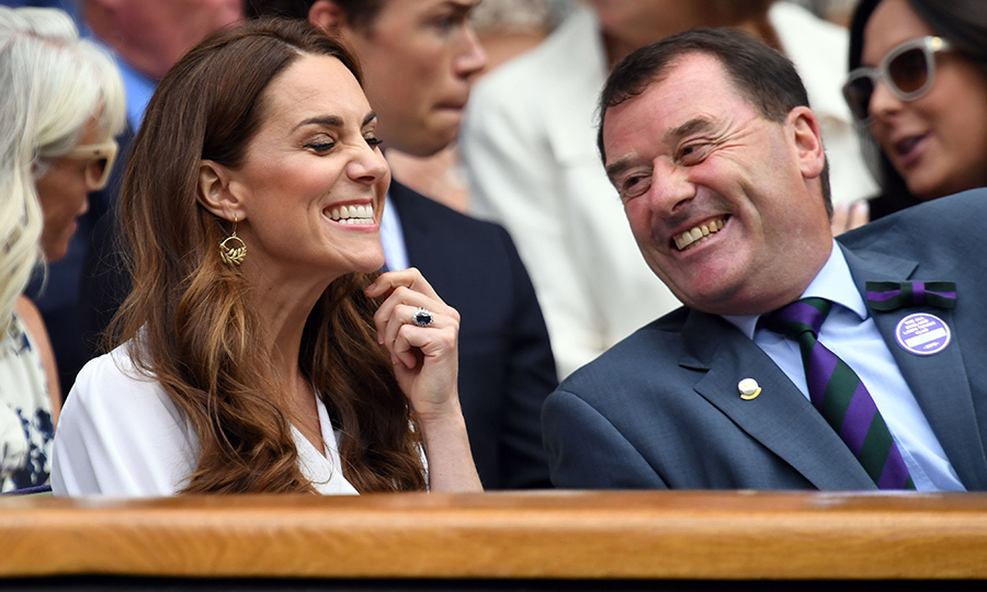 The two sat comfortably in the Royal Box on Centre Court while watching Germany's <strong>Tatjana Maria</strong> playing against Germany's <strong>Angelique Kerber</strong>. Looks like Kate said something funny!