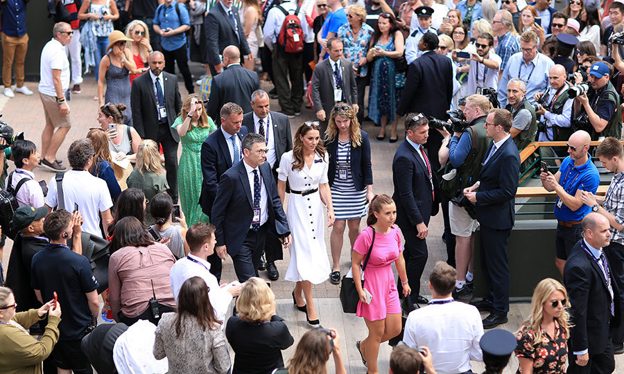 Wimbledon fans (and Kate's fans!) snapped photos of her as she arrived for the day.