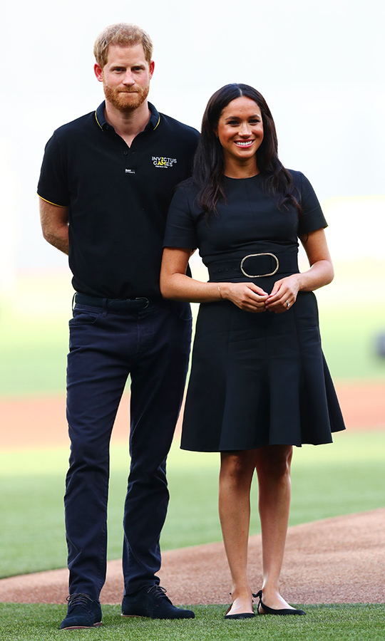 Duchess Meghan was a vision during a surprise outing with Prince Harry! The new mom dazzled in a belted <strong>Stella McCartney</strong> dress, paired with her <strong>Aquazzura</strong> Deneuve pointy flat and <strong>Jennifer Meyer</strong> turquoise inlay bar studs. They attended the pre-game ceremonies before the MLB London Series game between Boston Red Sox and New York Yankees at London Stadium on June 29.