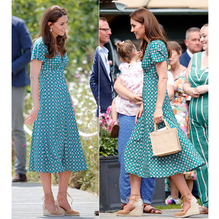 For the Hampton Court Garden Festival on July 1, Duchess Kate stunned in a teal printed Sandro dress , anchoring the look with her favourite beige Castañer wedges and a straw handbag.