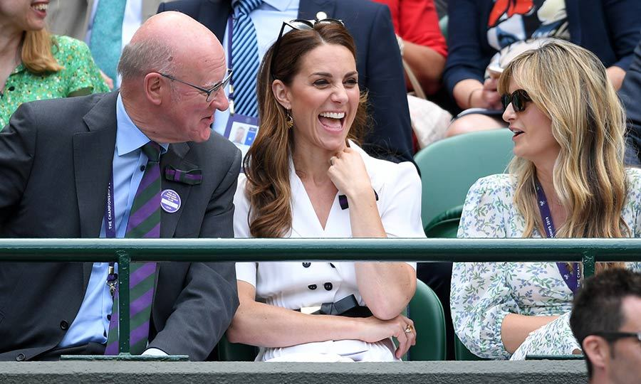 Kate appeared to have switched locations to yet another match later in the day, and was still having a blast! 