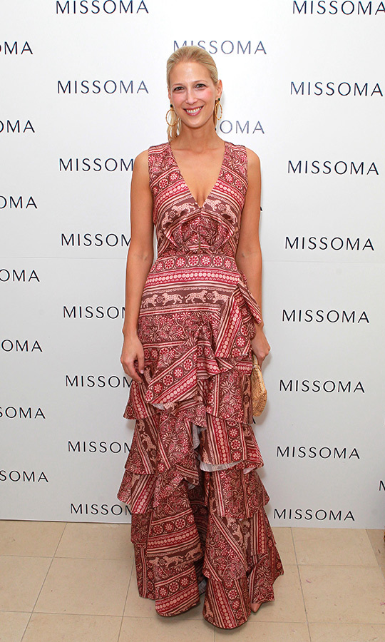 "<a href=""/tags/0/lady-gabriella-windsor""><strong>Lady Gabriella Windsor</strong></a> was a vision in pink while attending the Missoma Summer Party at the Residence of the Embassy of Colombia on July 3 in London. She sported a beautiful summer glow, accessorizing with a small clutch and hoop earrings for the event.