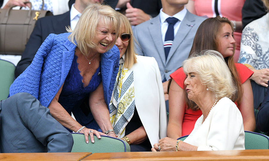 "English singer and actor <strong>Elaine Paige</strong> looked like she was having quite the animated conversation with <strong><a href=""/tags/0/camilla-parker-bowles"">Camilla Parker Bowles</a></strong> at Wimbledon on July 10! Wonder what they were talking about?