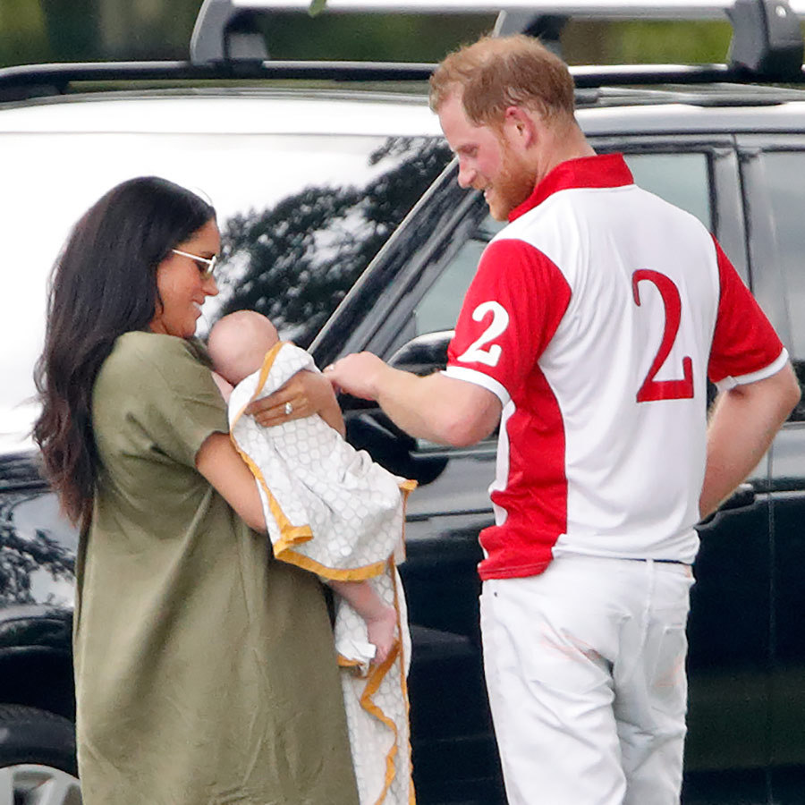 Meghan, Harry and Archie shared a tender moment off the field while heading to their car.