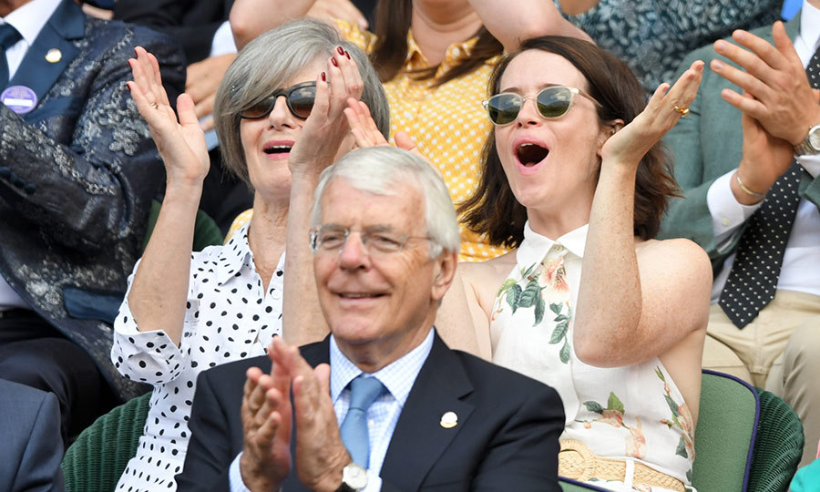 "Queen on the court! Her Majesty hasn't stepped out to <strong><a href=""/tags/0/wimbledon"">Wimbledon</a></strong> yet this year, but <Strong><a href=""/tags/0/claire-foy"">Claire Foy</a></strong>, who plays the Queen in Netflix's <i>The Crown</i> looked thrilled with the match she and her mother <Strong>Caroline</strong> were watching in the Royal Box on July 11!