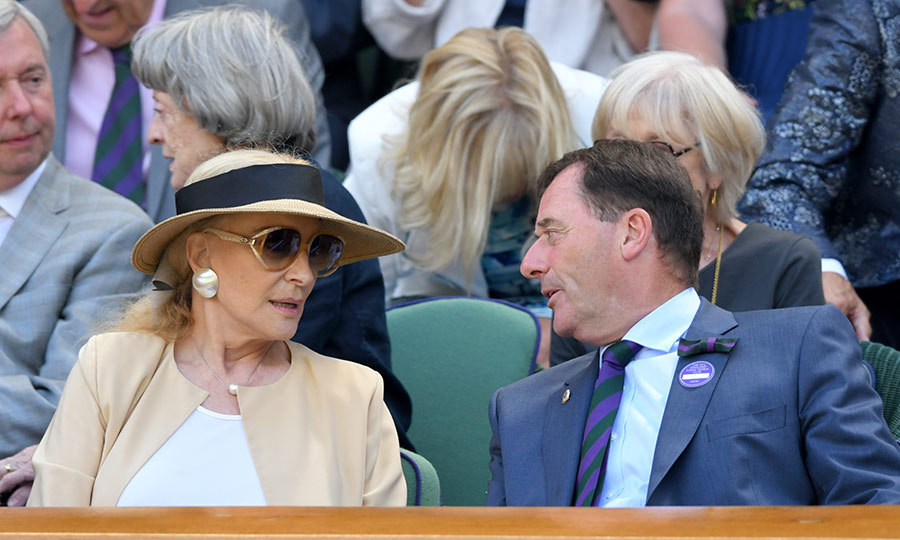 "<strong><a href=""/tags/0/princess-michael-of-kent"">Princess Michael of Kent</a></strong> and Wimbledon chairperson <strong>Phillip Brook</strong> enjoyed a conversation during the match they took in at Centre Court.