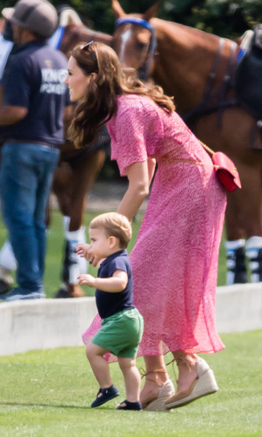 "Kate <a href=""https://ca.hellomagazine.com/royalty/02019071052220/meghan-markle-brings-archie-playdate-prince-louis-polo""><strong>stepped out</a></strong> to watch <strong><a href=""/tags/0/prince-william"">Prince William</a></strong> and <strong><a href=""/tags/0/prince-harry"">Prince Harry</a></strong> play in a charity polo match on July 10, and brought <strong><a href=""/tags/0/prince-george"">Prince George</a></strong>, <strong><a href=""/tags/0/princess-charlotte"">Princess Charlotte</a></strong> and <strong><a href=""/tags/0/prince-louis"">Prince Louis</a></strong> along to see their dad and uncle's game! She and Louis had plenty of ""aww!""-worthy moments, including when she led him across the field to say hi to the horses. 