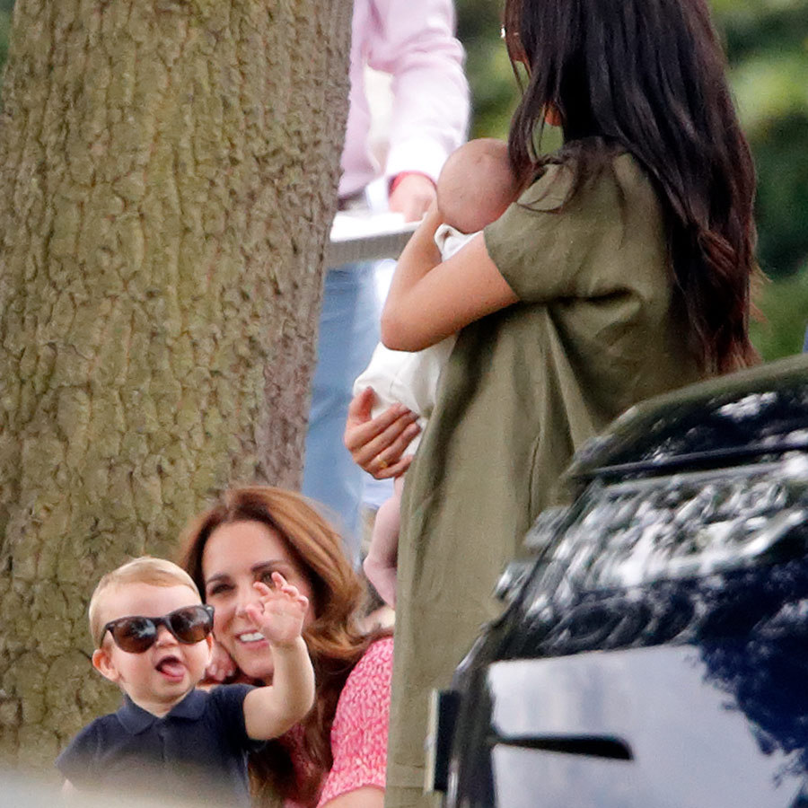 "At polo on July 10, little Louis stole his mom's sunglasses and then stuck his tongue out. The moment delighted Duchess Kate and Duchess Meghan, who was holding Louis's two-month-old cousin <strong><a href=""/tags/0/archie-harrison"">Archie Harrison</a></strong> in her arms. Louis is shaping up to be quite the little rascal! 