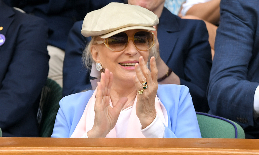 "<strong><a href=""/tags/0/princess-michael-of-kent"">Princess Michael of Kent</a></strong> was back at Wimbledon for the second day in a row to take in another match at Centre Court. She looked equal parts casual and chic as she sat in the Royal Box, with a poorboy hat on her head. She sported a stylish sky blue and pink number and protected her eyes from the sun with shades. 