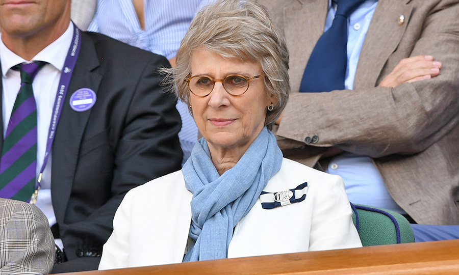 <strong>Birgitte, Duchess of Gloucester</strong> was also in the Royal Box on July 12. She opted for a sky blue scarf with a white blazer despite the summer heat.