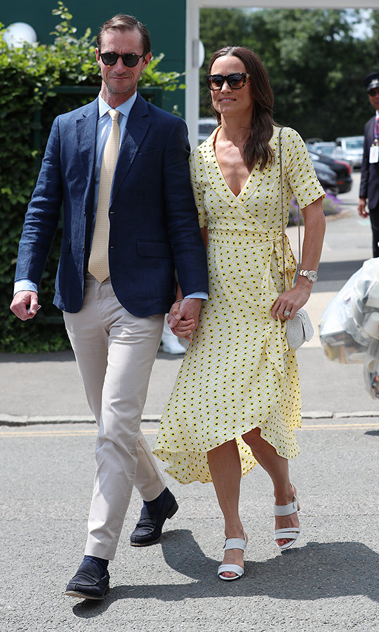 "<strong><A href=""/tags/0/pippa-middleton"">Pippa Middleton</a></strong> returned for her second day at <strong><a href=""/tags/0/wimbledon"">Wimbledon</a></strong>, this time with another James in tow - her husband, <strong>James Matthews</strong>. 
