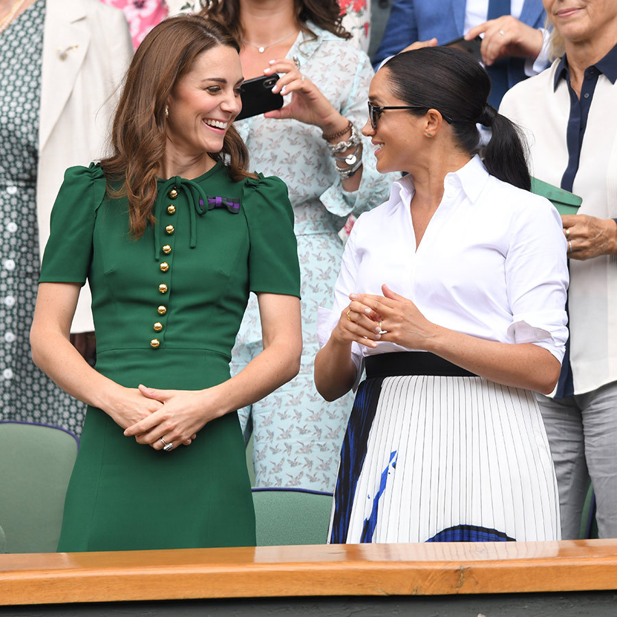 "<strong><a href=""/tags/0/meghan-markle"">Duchess Meghan</a></strong> was there to take in Wimbledon with Kate, and the 37-year-old sported a plain white blouse with a big statement skirt by <strong><a href=""/tags/0/hugo-boss"">Hugo Boss</a></strong>.