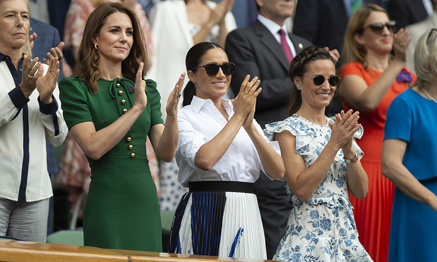 "Kate's sister <strong><a href=""/tags/0/pippa-middleton"">Pippa</a></strong> joined the duchesses to watch Serena and Simona, and looked pretty stunning herself in a custom <Strong>Anna Mason</strong> dress with blue floral patterns.