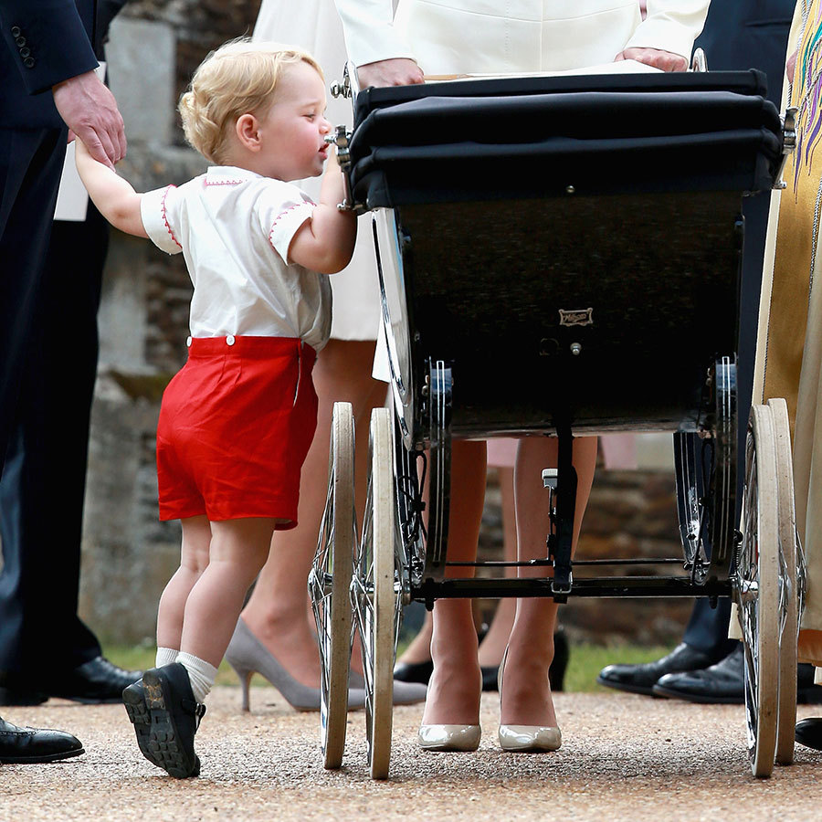 He was also keen to check on his baby sister, peering into her pram. Aww!