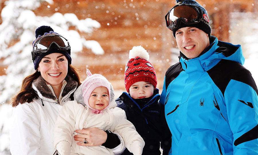 Nearly a year later, George looked so sweet with his baby sister and mom and dad during a ski holiday in the Swiss Alps in March 2016! 