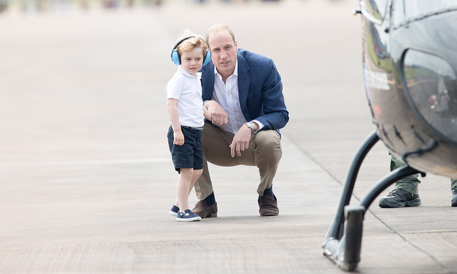 George, just shy of three years old in July 2016, spent some time with his father, who probably explained how a helicopter works, before the two got in one at the Royal International Air Tattoo. William would know, since he spent many years working as a helicopter pilot for the East Anglian Air Ambulance!