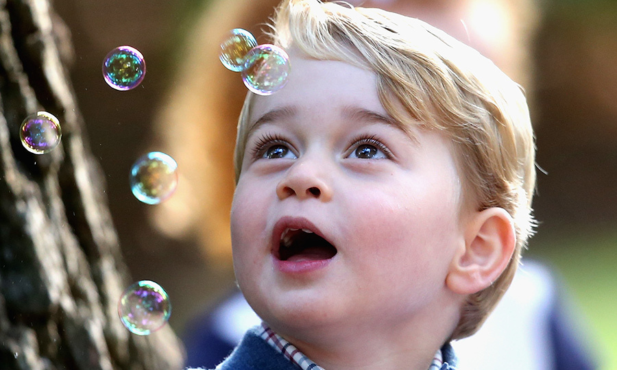 He was fascinated by these bubbles at a party in Victoria, too!