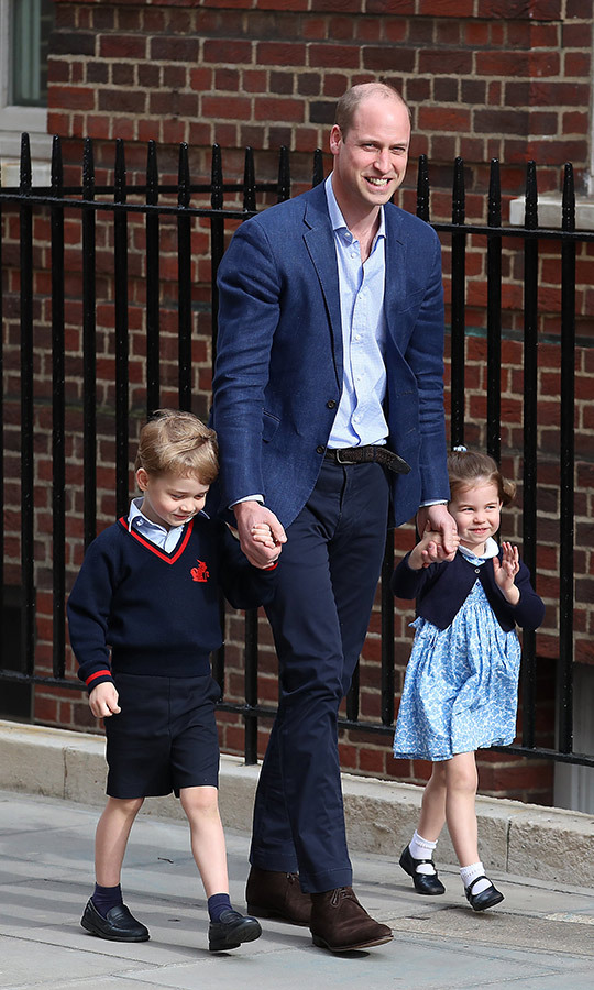 "Look at his sweet smile! George looked happy to be heading to the hospital with Charlotte and his dad to meet his little brother <STRONG><a href=""/tags/0/prince-louis"">Prince Louis</a></strong> in April 2018.