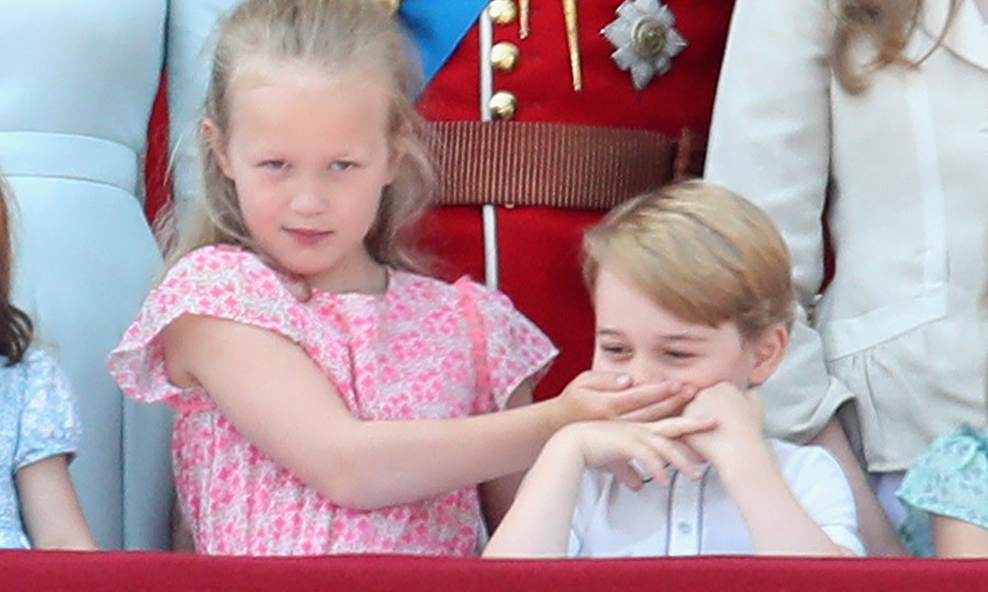 "In the shush to end all shushes, George's cousin <strong><a href=""/tags/0/savannah-phillips"">Savannah Phillips</a></strong> covered his mouth at Trooping the Colour in 2018. 