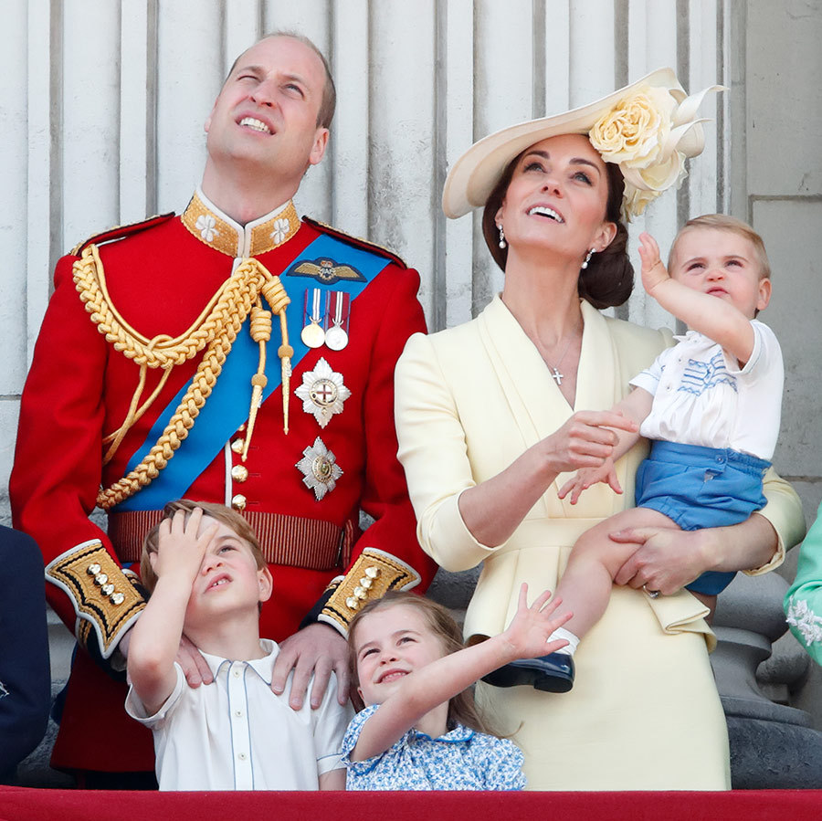 George and Charlotte were as fascinated as ever by the flypast at Trooping the Colour in June 2019, while little brother Louis stole the show with his adorable debut! 