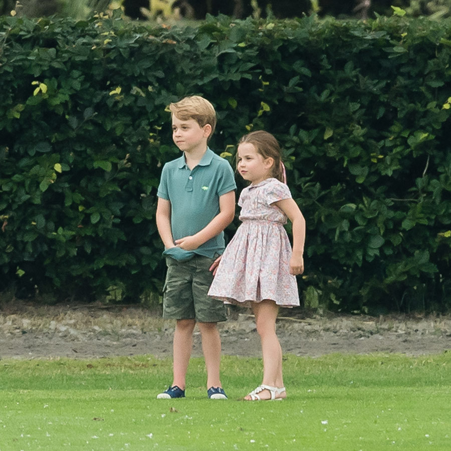 We last saw George at William and Harry's charity polo match just a few weeks ago. He and Charlotte looked very into watching the game!