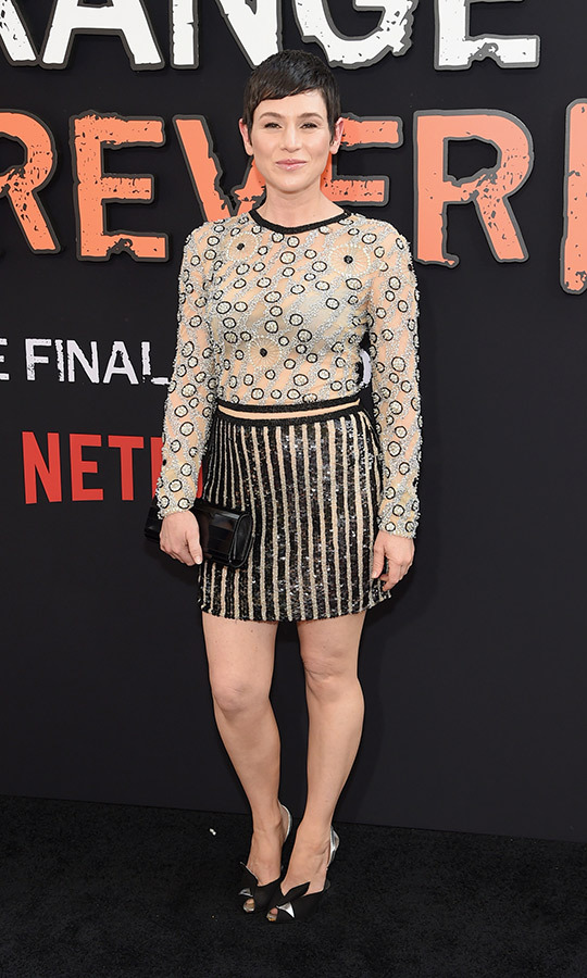 <strong>Yael Stone</strong> wore a bold combination of polka dots and stripes with her intriguing look!