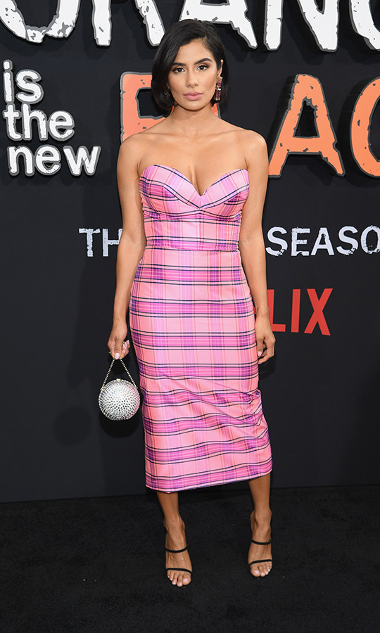 <strong>Diane Guerrero</strong> (Maritza Ramos) chose a pink tartan dress with a silver handbag. 