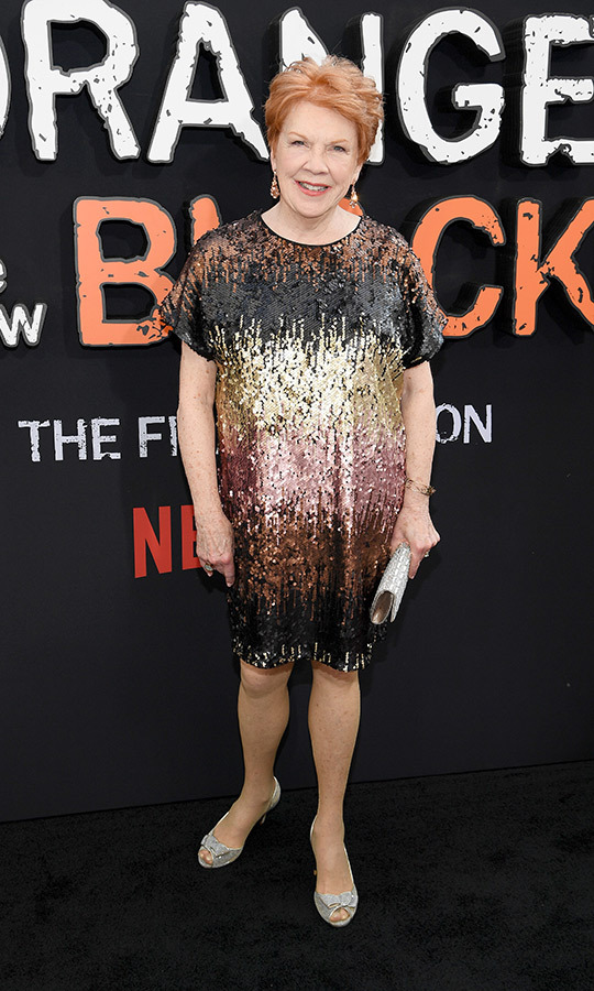 <strong>Beth Fowler</strong> (Sister Ingalls) chose a multicoloured shimmery dress with grey heels. 