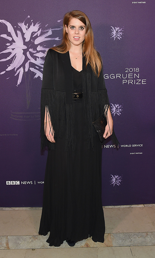 "<strong><a href=""/tags/0/princess-beatrice"">Beatrice</a></strong> looked stylish and professional at the 2018 Berggruen Prize Gala in New York in December, where she topped a maxi dress and gold-clasped belt with a fringe <strong>Galvan</strong> jacket. This was the first public outing with her now-boyfriend, <strong><a href=""/tags/0/edoardo-mapelli-mozzi"">Edoardo Mapelli Mozzi</a></strong>, who she had been rumoured to be dating at the time.