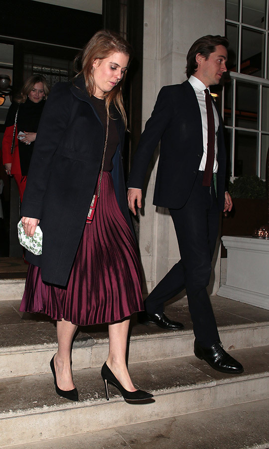 "In April, <strong><a href=""/tags/0/princess-beatrice"">Beatrice</a></strong> and boyfriend <strong><a href=""/tags/0/edoardo-mapelli-mozzi"">Edoardo Mapelli Mozzi</a></strong> were spotted at London's 34 restaurant on a date! She chose a pleated velvet midi skirt when black heels and accessorized with her beloved bee <strong><a href=""/tags/0/gucci"">Gucci</a></strong> handbag. 