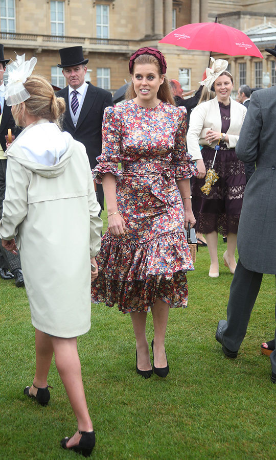 "In late May, <Strong><a href=""/tags/0/princess-beatrice"">Princess Beatrice</a></strong> stepped out to one of the Buckingham Palace garden parties wearing a silk midi dress with puffed sleeves by <strong>The Vampire's Wife</strong>, which she paired with a burgundy-coloured headband.