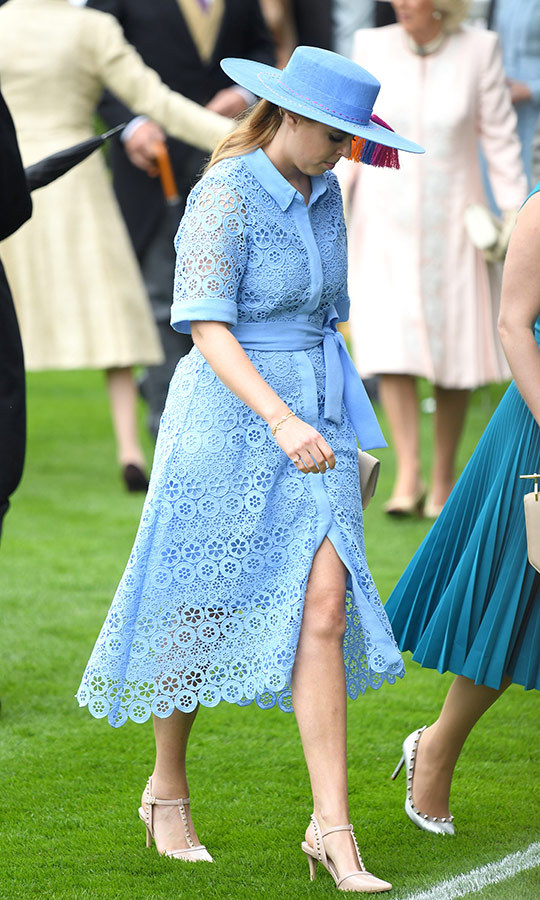 "In June, <strong><A href=""/tags/0/princess-beatrice"">Beatrice</a></strong> made jaws drop when she stepped out to <strong><a href=""/tags/0/royal-ascot"">Royal Ascot</a></strong> wearing a sky blue guipure lace dress, which she paired with a matching hat with rainbow-coloured tassels by <strong>Bundle MacLaren</strong>.