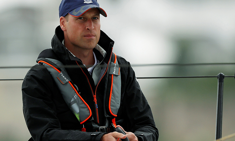 The Duke of Cambridge cast a pensive, thoughtful gaze as he helmed the tiller.