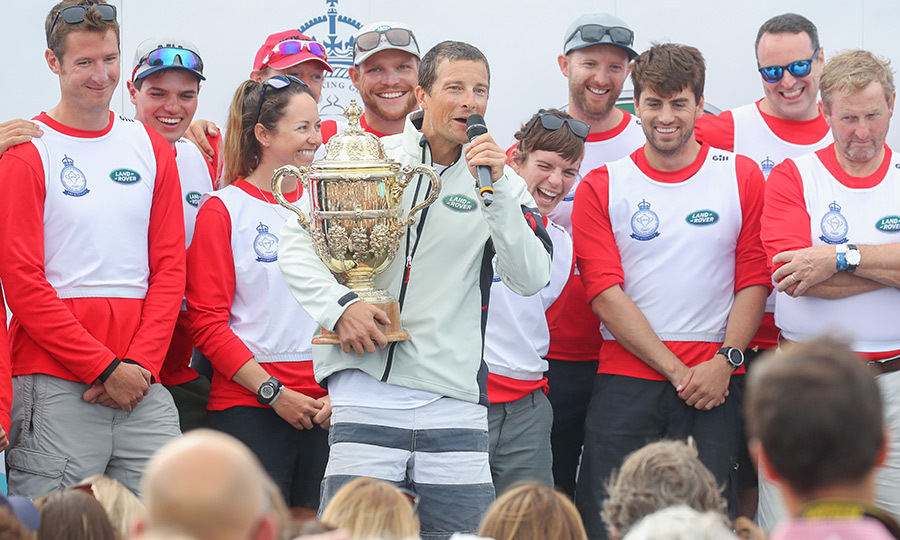 "<strong><a href=""/tags/0/bear-grylls"">Bear Grylls</a></strong>, who skippered a boat for wildlife conservation charity Tusk, was presented with The King's Cup, which was first awarded by <strong>George V</strong> at the Royal Yacht Squadron in Cowes in 1920.