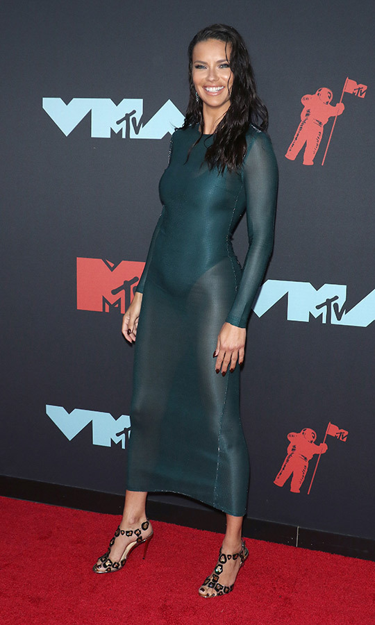 "Supermodel <strong><A href=""/tags/0/adriana-lima"">Adriana Lima</a></strong> chose a turquoise dress, which she paired with unique heels.