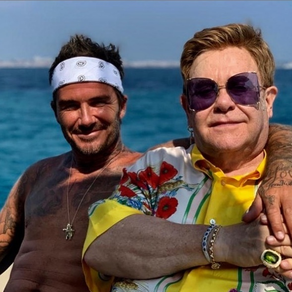 """Gorgeous day with @eltonjohn @davidfurnish,"" <strong><a href=""/tags/0/david-beckham"">David Beckham</a></strong> wrote in another snap he shared of him holding <strong><a href=""/tags/0/elton-john"">Elton John</a></strong>'s hand. ""24 years we have known each other and we laugh like it's day one.""