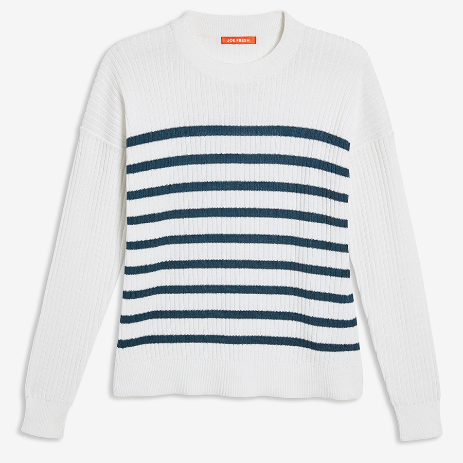 <strong><a href=https://www.joefresh.com/ca/Categories/Women/Women-s-Sweaters/Stripe-Sweater/p/F9WR000104_4100>Stripe Sweater in Dark Blue</strong></a>, $29 